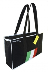 Casual Sport Bag with full length zipper & internal pocket printed with Italian flag & border w/base