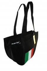 Casual Sport Bag with full length zipper & internal pocket printed with Italian flag